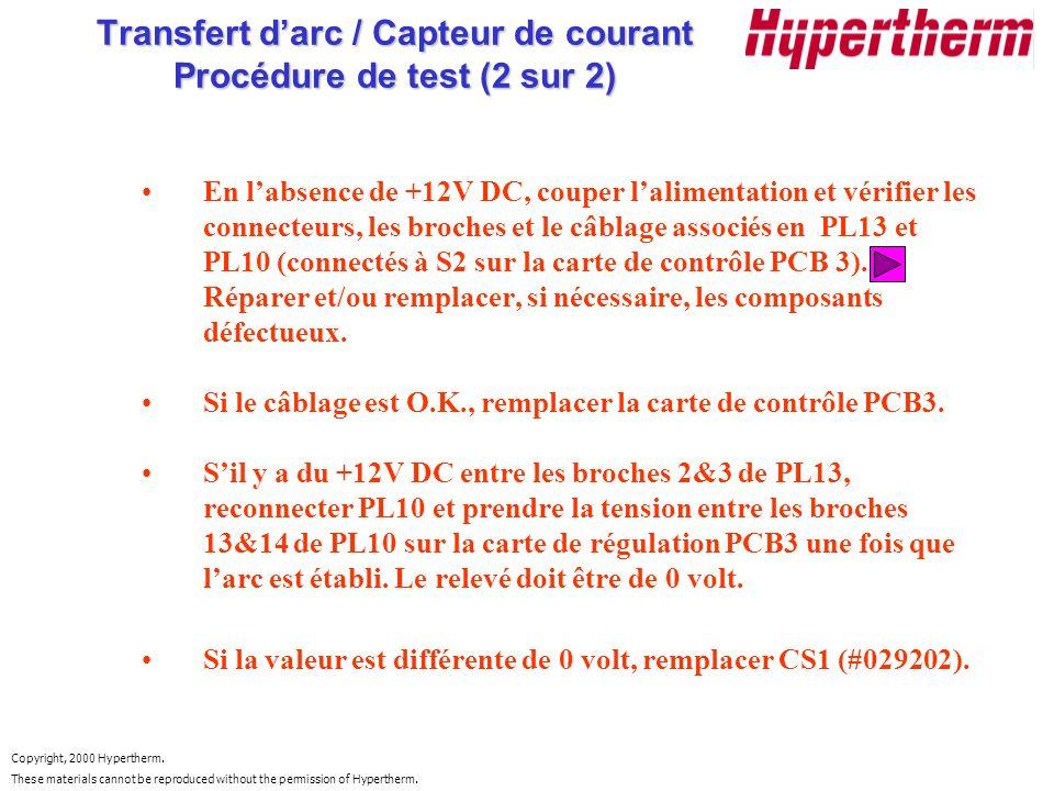 Transfert d'arc / Capteur de courant Procédure de test (2 sur 2)