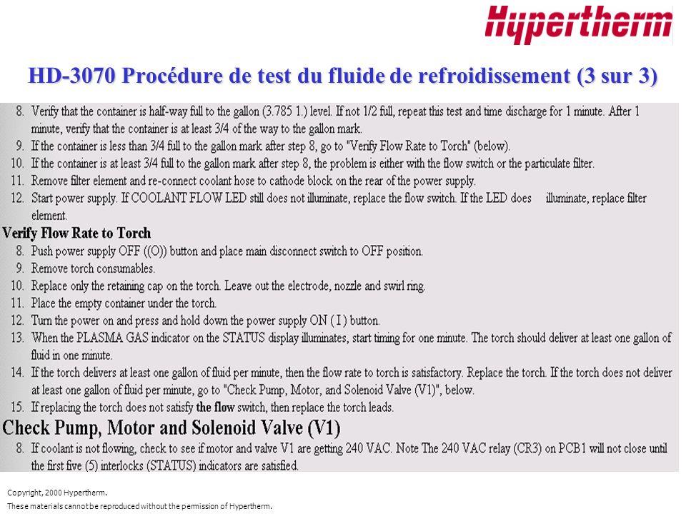 HD-3070 Procédure de test du fluide de refroidissement (3 sur 3)
