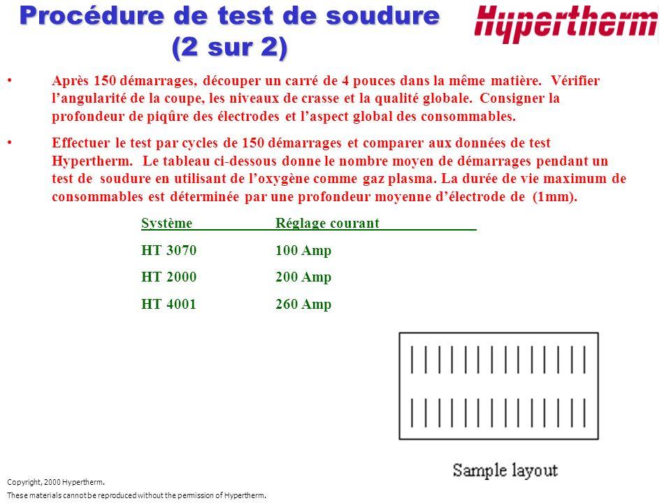Procédure de test de soudure (2 sur 2)