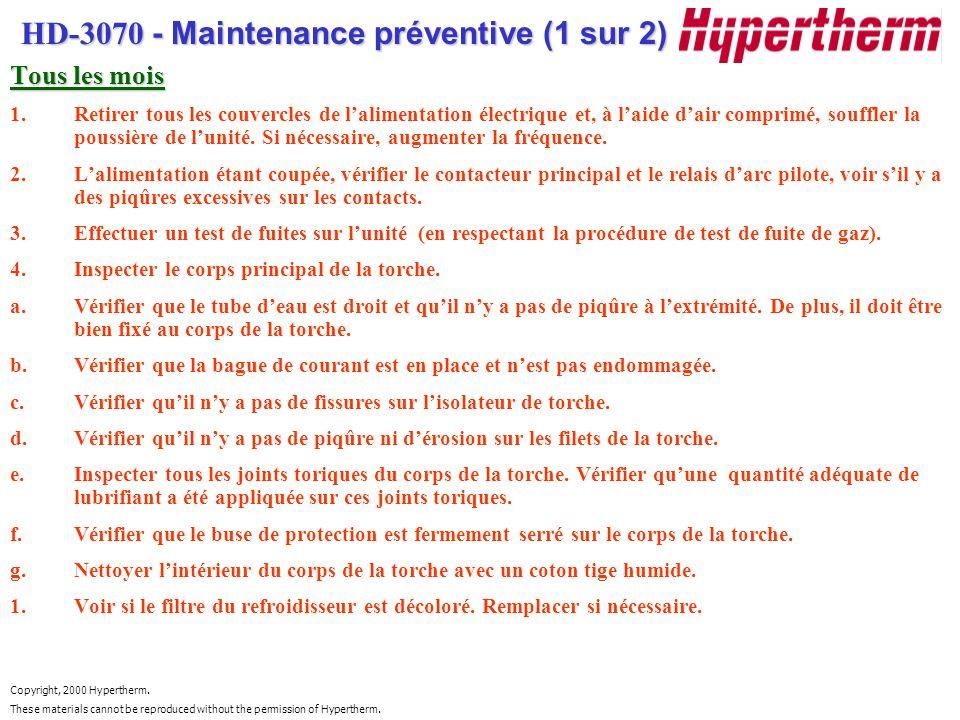 HD-3070 - Maintenance préventive (1 sur 2)