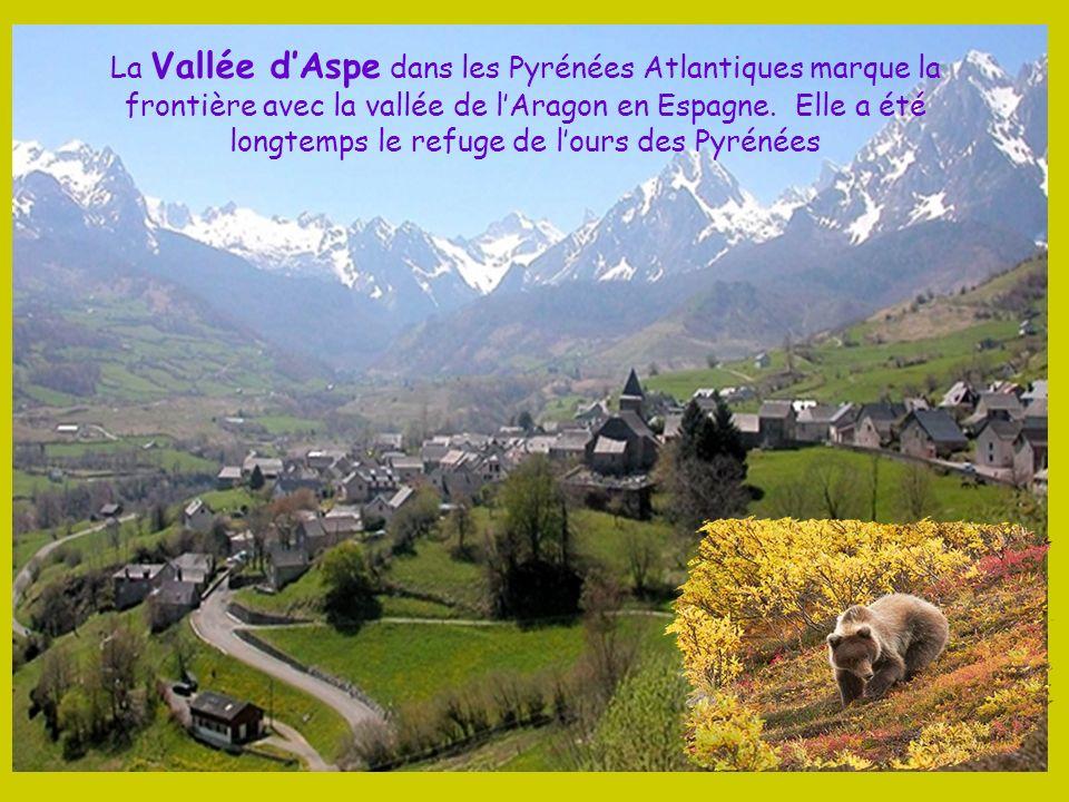 La Vallée d'Aspe dans les Pyrénées Atlantiques marque la frontière avec la vallée de l'Aragon en Espagne.