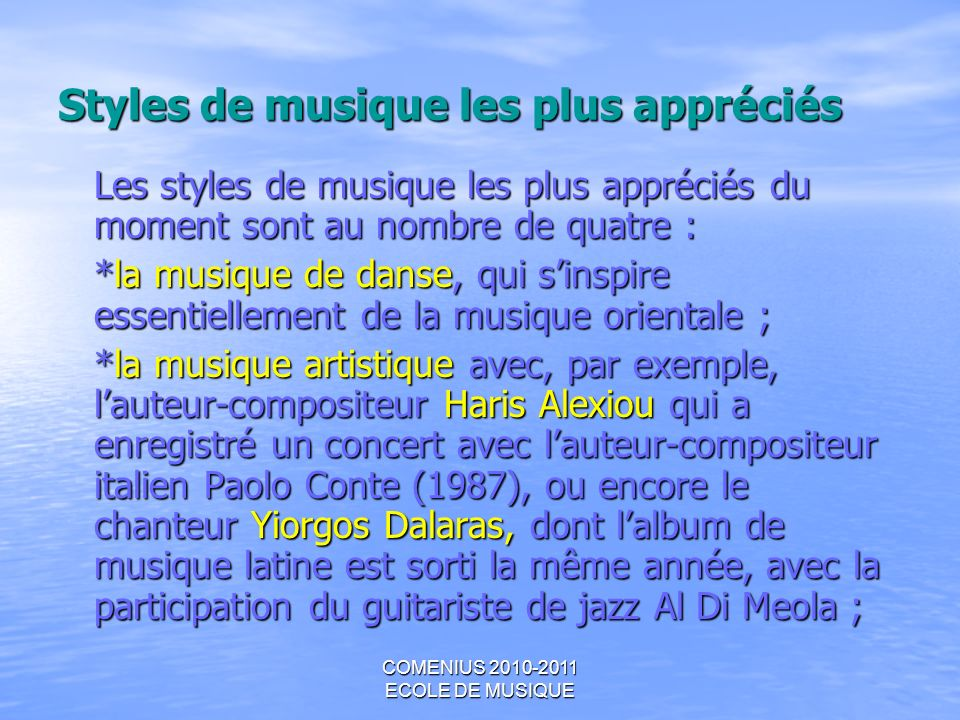 Styles de musique les plus appréciés