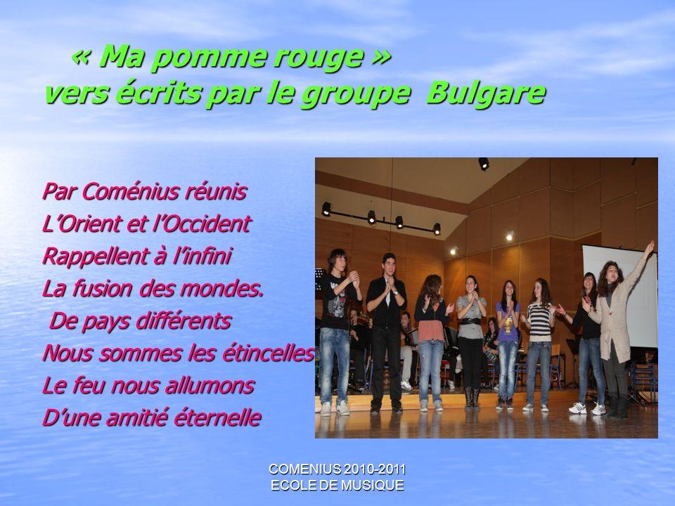 « Ma pomme rouge » vers écrits par le groupe Bulgare