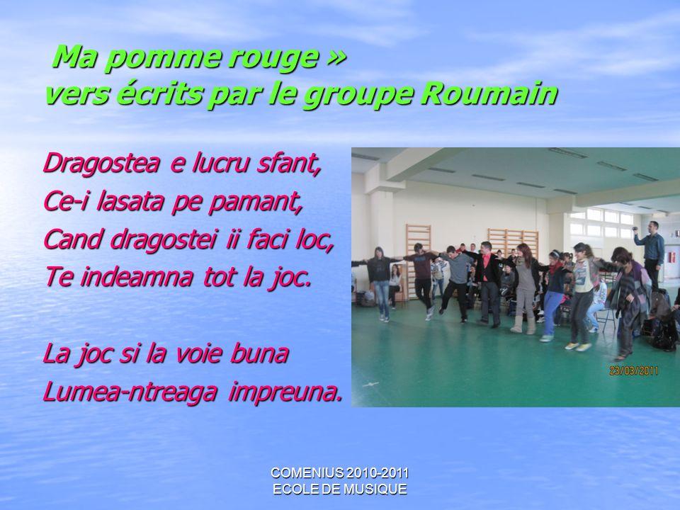 Ma pomme rouge » vers écrits par le groupe Roumain