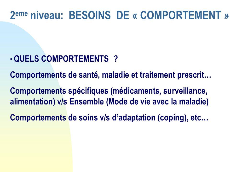 2eme niveau: BESOINS DE « COMPORTEMENT »