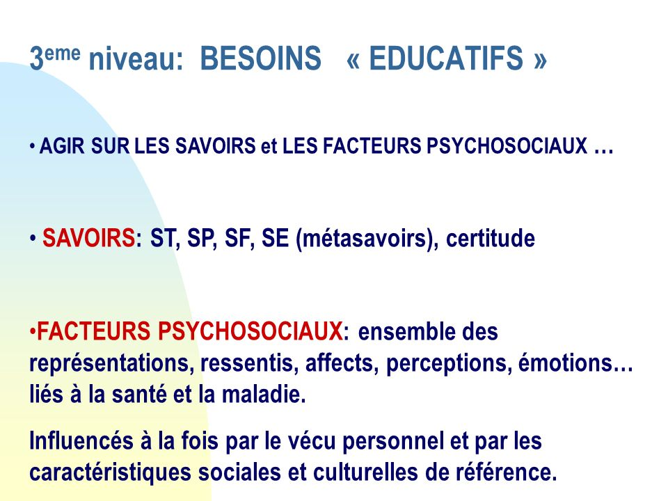 3eme niveau: BESOINS « EDUCATIFS »