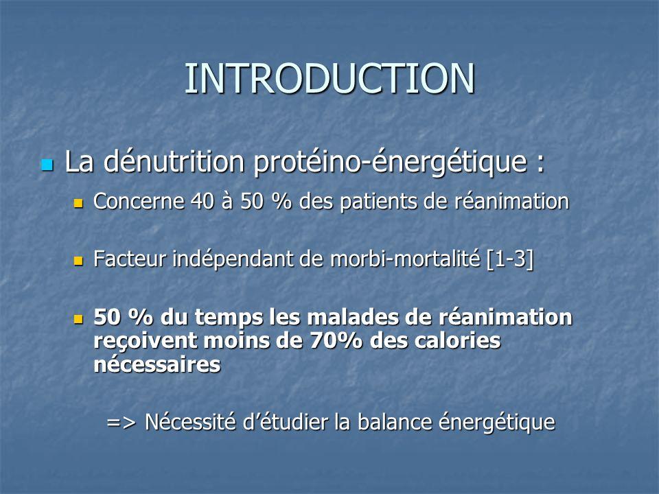 INTRODUCTION La dénutrition protéino-énergétique :