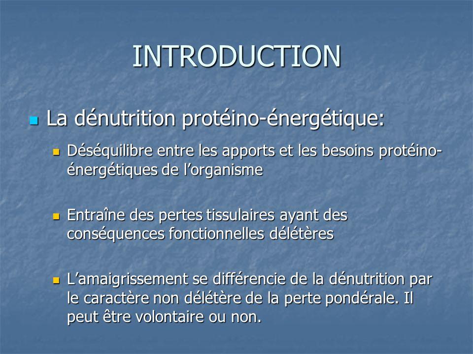INTRODUCTION La dénutrition protéino-énergétique: