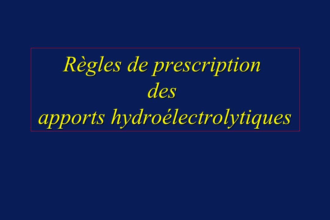 Règles de prescription des apports hydroélectrolytiques