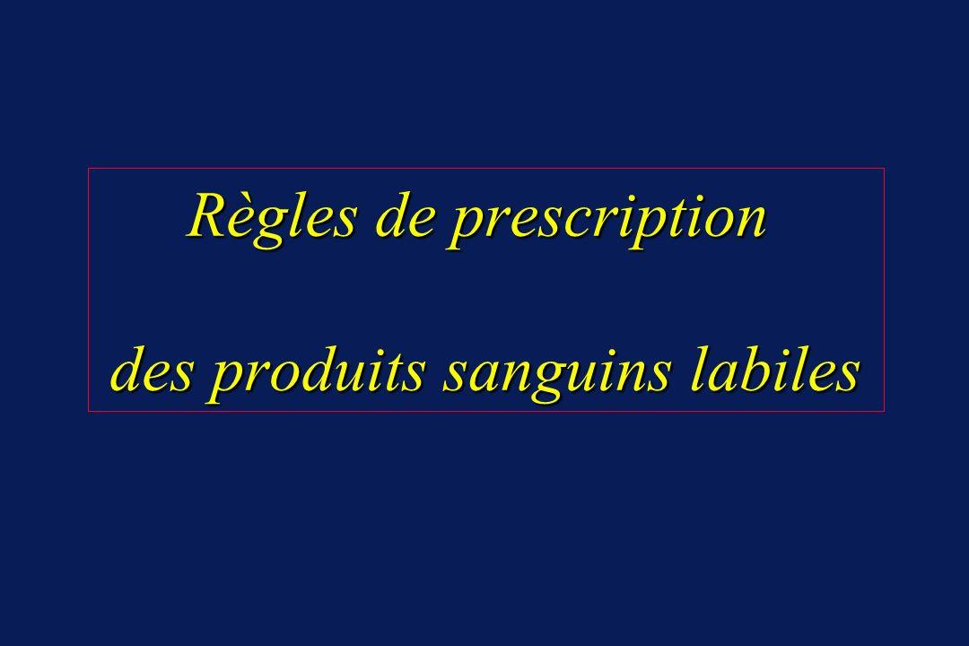 Règles de prescription des produits sanguins labiles