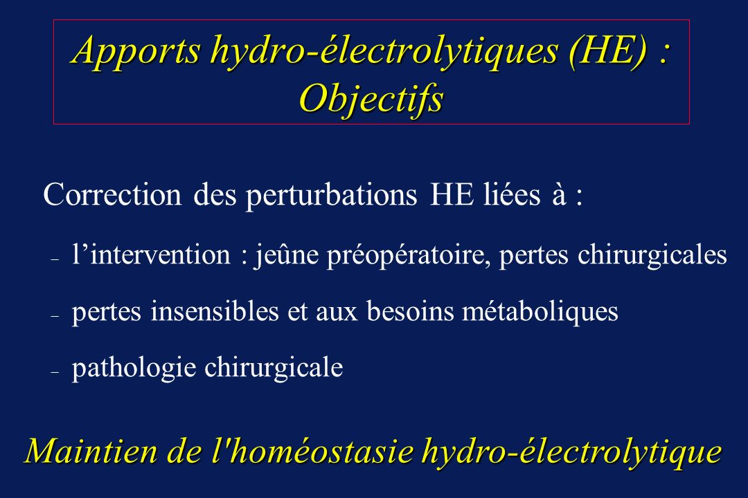 Apports hydro-électrolytiques (HE) : Objectifs