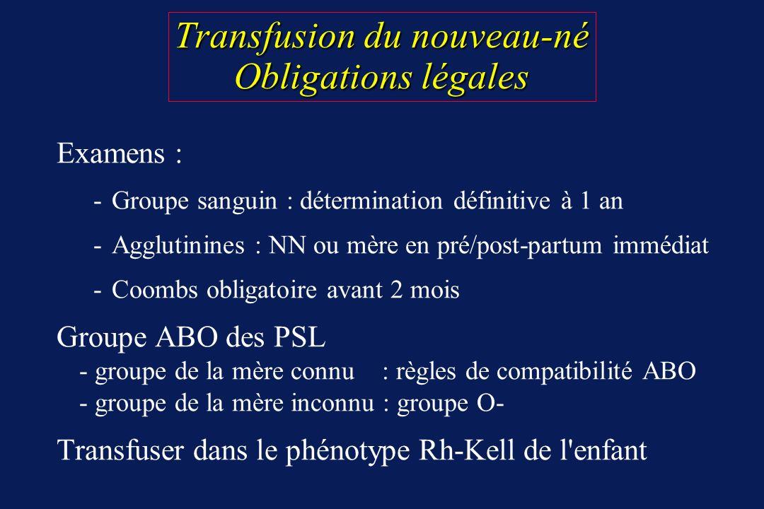 Transfusion du nouveau-né Obligations légales