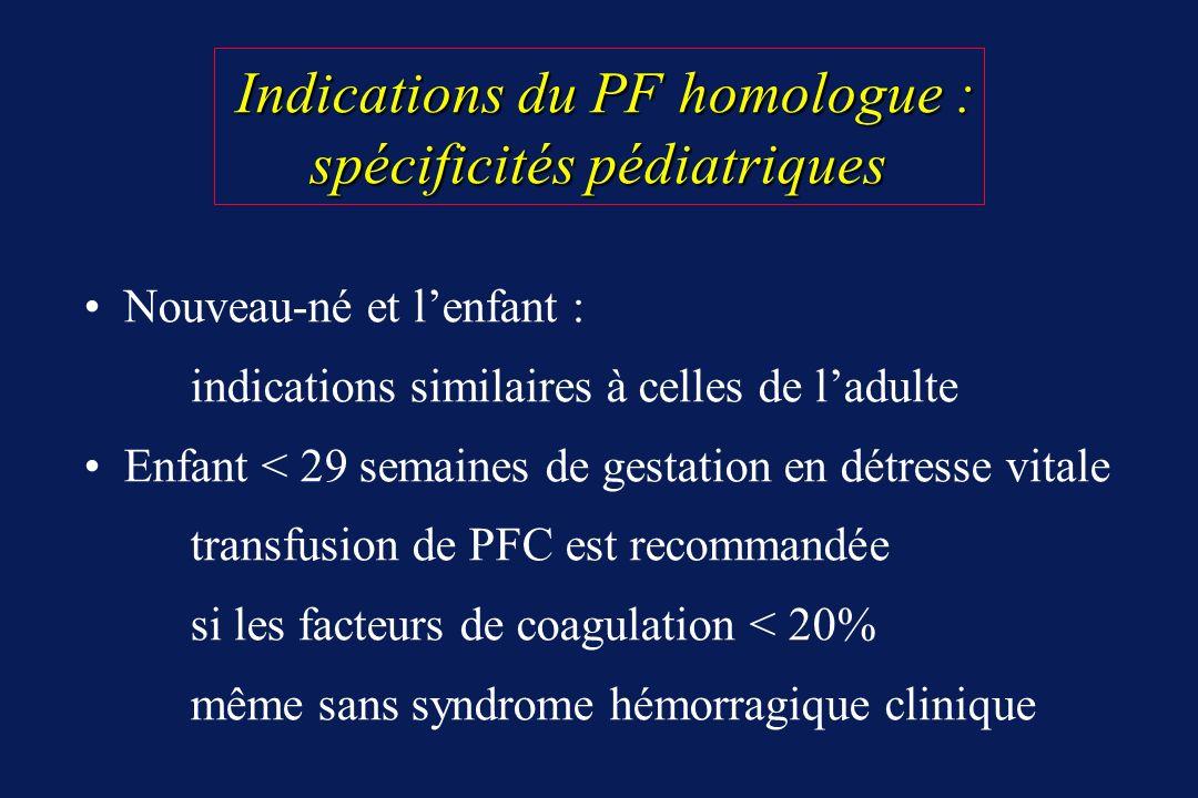 Indications du PF homologue : spécificités pédiatriques