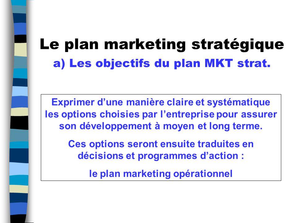 Le plan marketing stratégique a) Les objectifs du plan MKT strat.