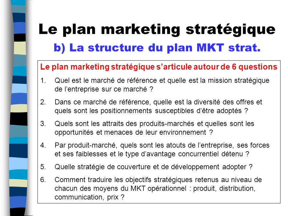 Le plan marketing stratégique b) La structure du plan MKT strat.