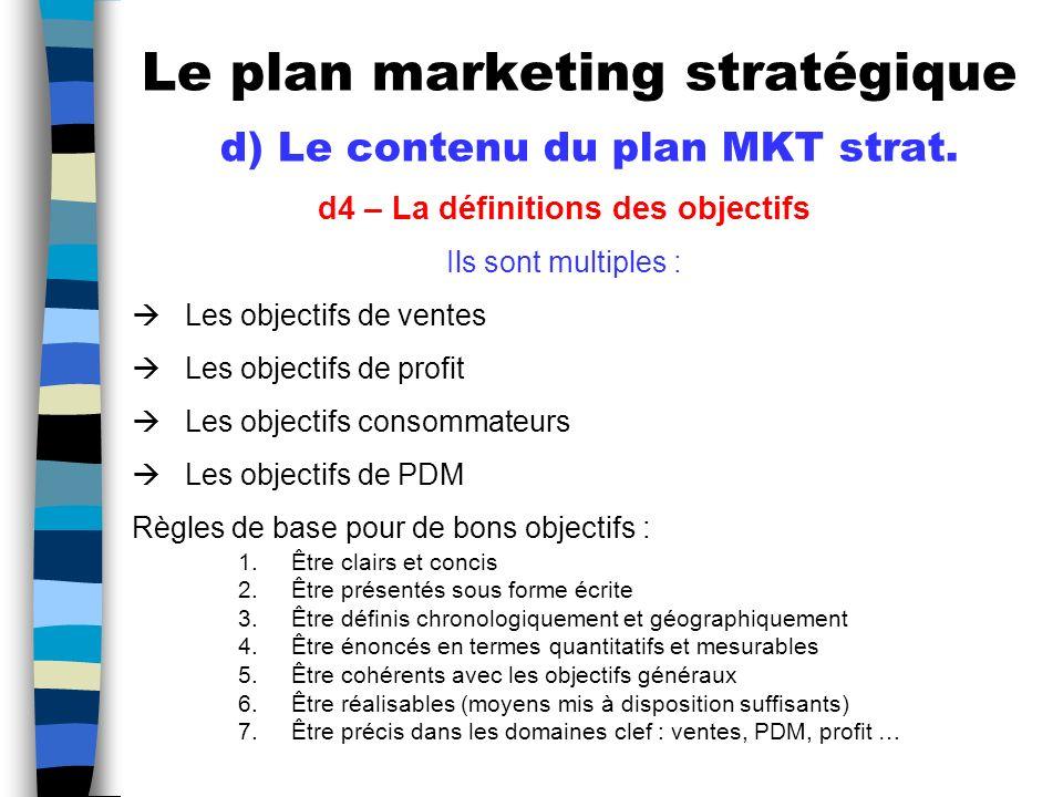 Le plan marketing stratégique d) Le contenu du plan MKT strat.