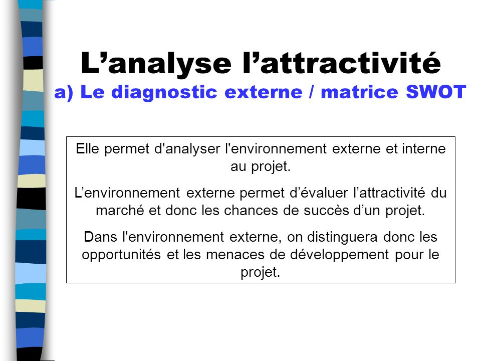 L'analyse l'attractivité a) Le diagnostic externe / matrice SWOT