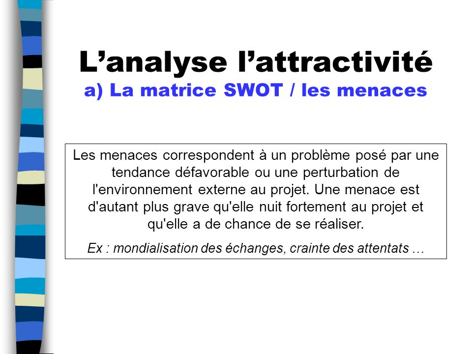 L'analyse l'attractivité a) La matrice SWOT / les menaces