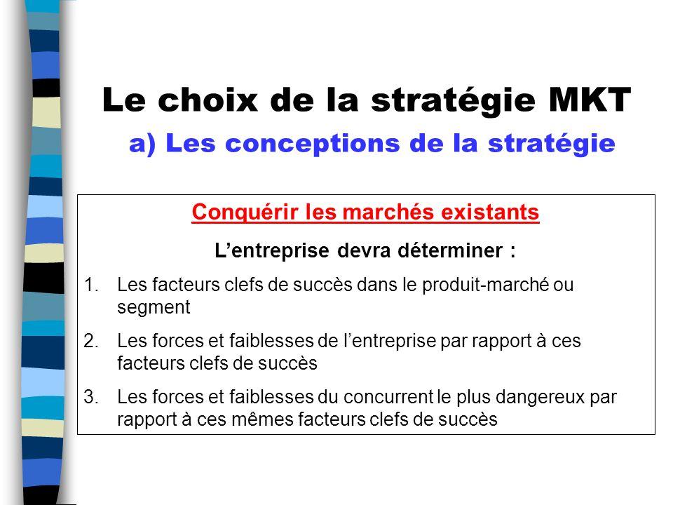 Le choix de la stratégie MKT a) Les conceptions de la stratégie