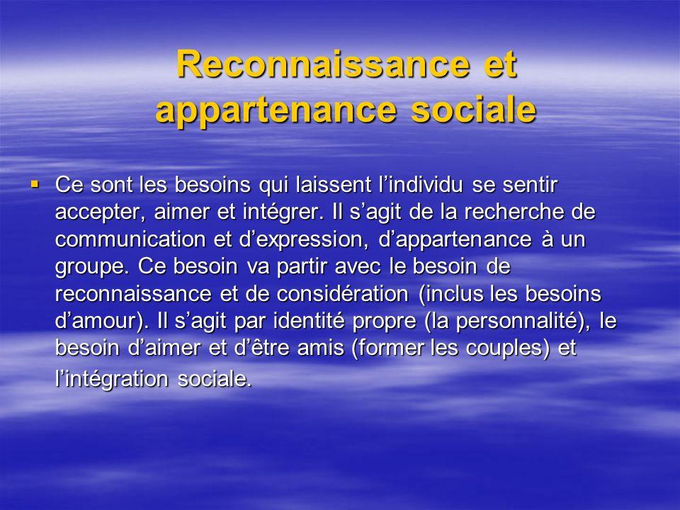 Reconnaissance et appartenance sociale