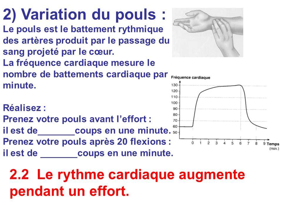 2) Variation du pouls : Le pouls est le battement rythmique des artères produit par le passage du sang projeté par le cœur.