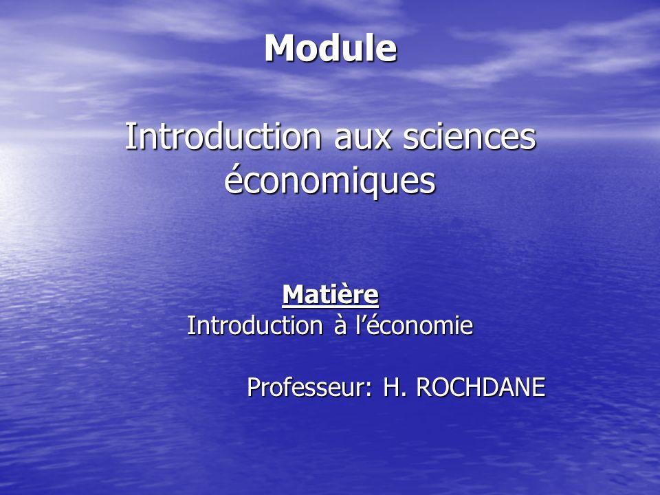 Module Introduction aux sciences économiques