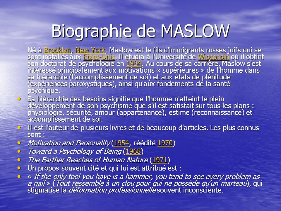 Biographie de MASLOW