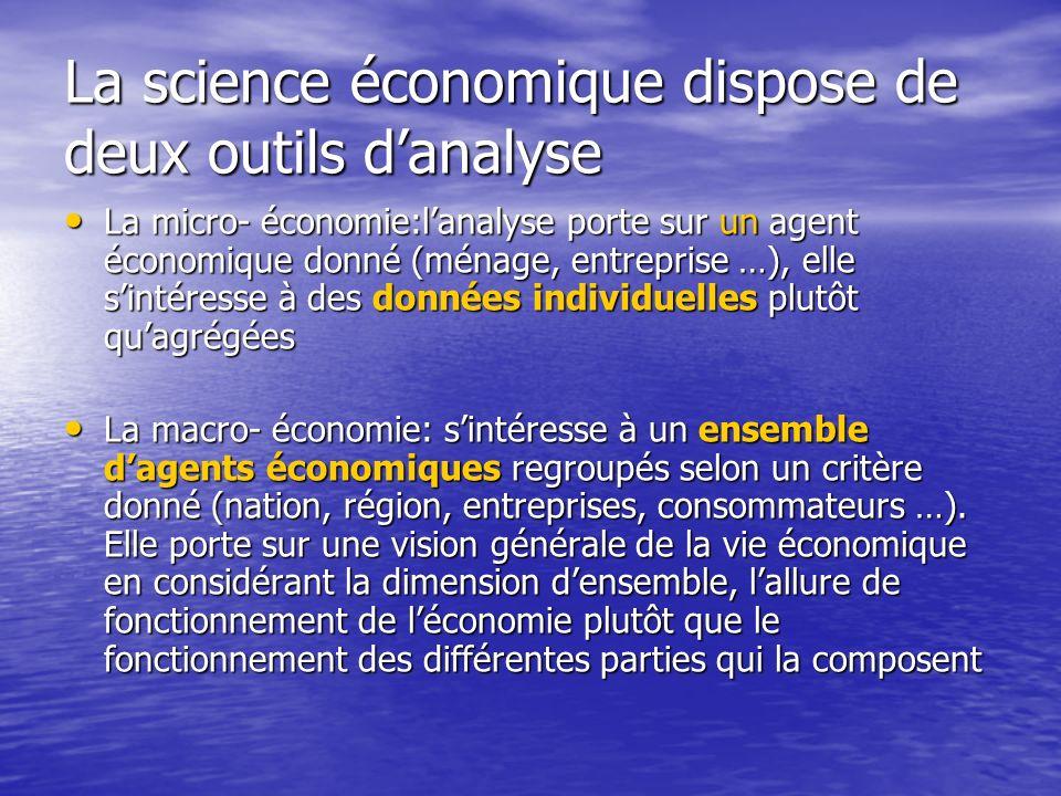 La science économique dispose de deux outils d'analyse
