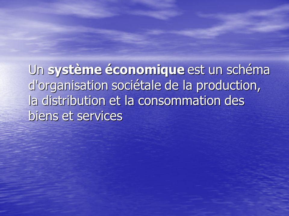 Un système économique est un schéma d organisation sociétale de la production, la distribution et la consommation des biens et services