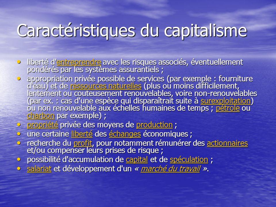 Caractéristiques du capitalisme