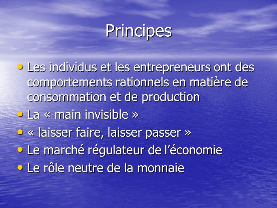 Principes Les individus et les entrepreneurs ont des comportements rationnels en matière de consommation et de production.