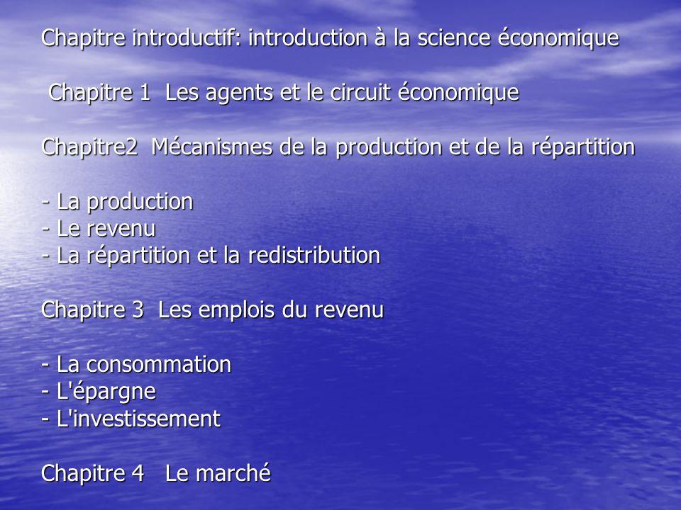 Chapitre introductif: introduction à la science économique