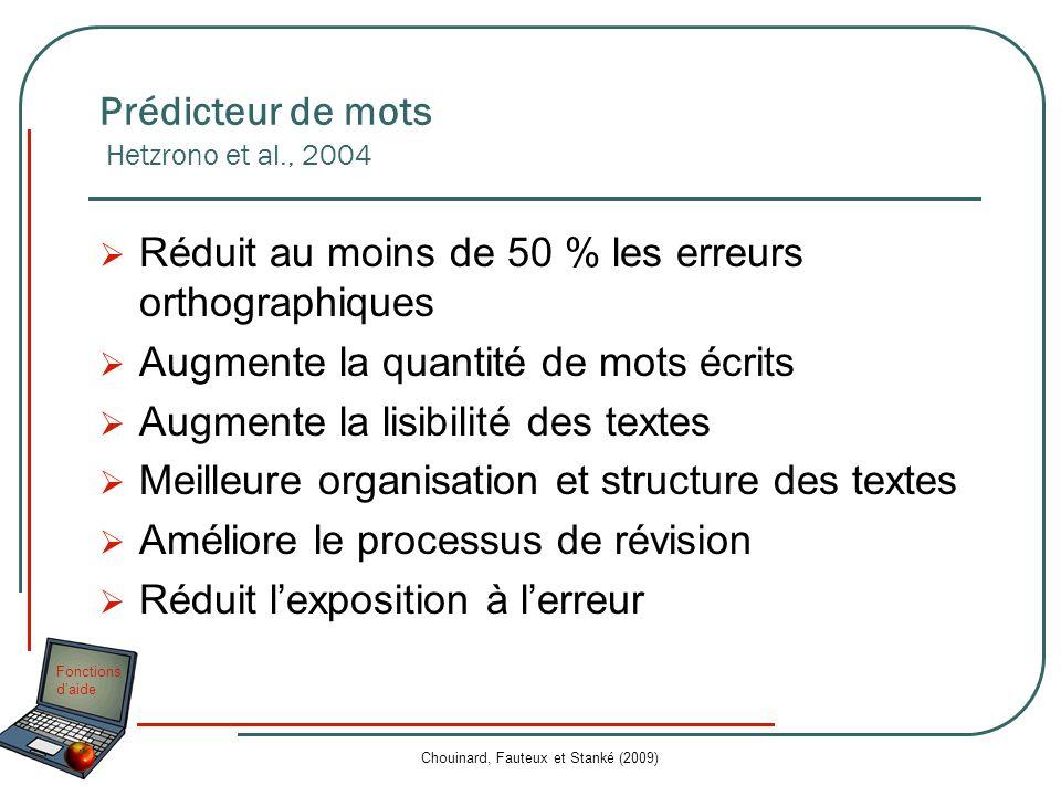 Prédicteur de mots Hetzrono et al., 2004
