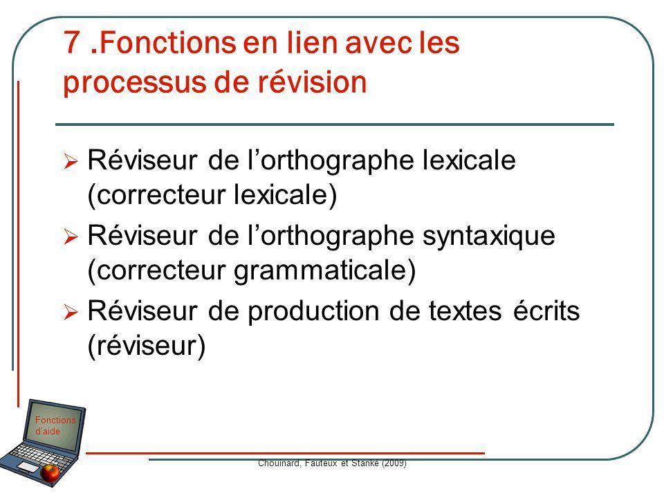 7 .Fonctions en lien avec les processus de révision