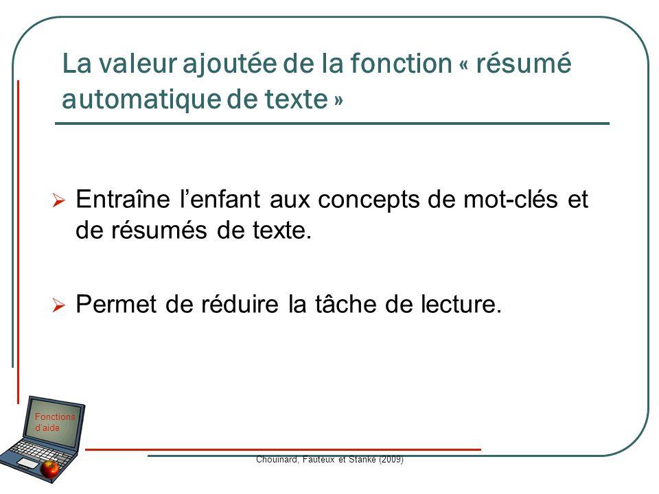 La valeur ajoutée de la fonction « résumé automatique de texte »