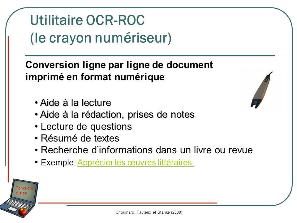 Utilitaire OCR-ROC (le crayon numériseur)