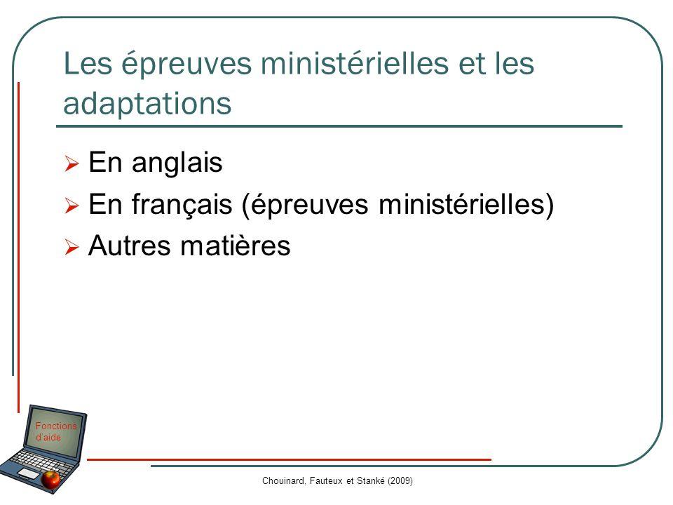 Les épreuves ministérielles et les adaptations