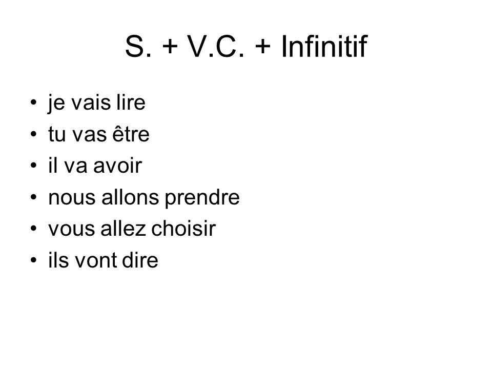 S. + V.C. + Infinitif je vais lire tu vas être il va avoir