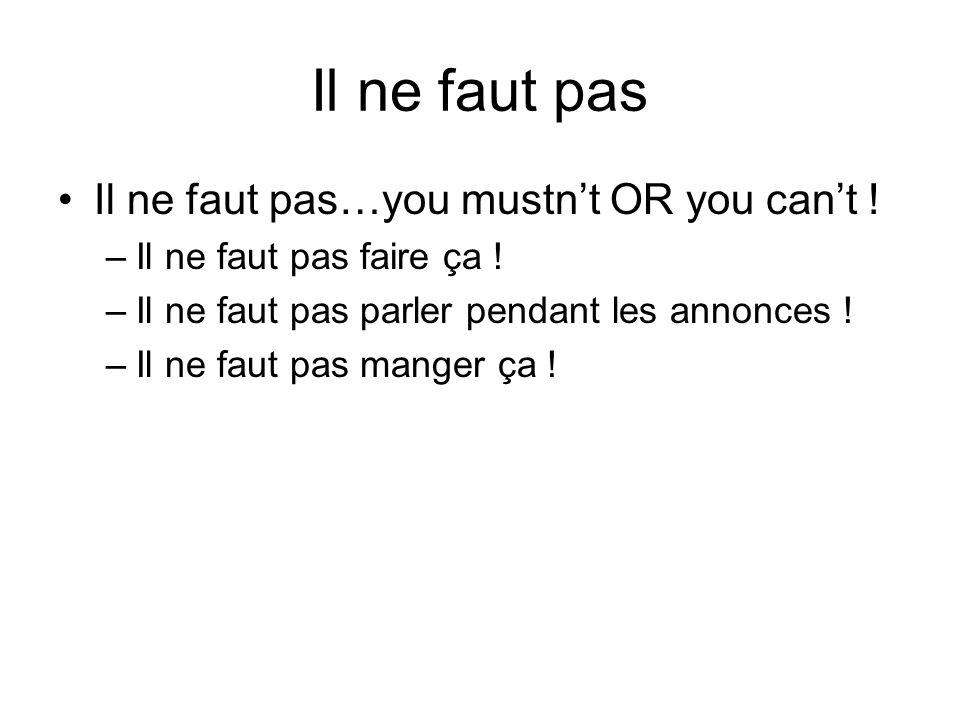 Il ne faut pas Il ne faut pas…you mustn't OR you can't !