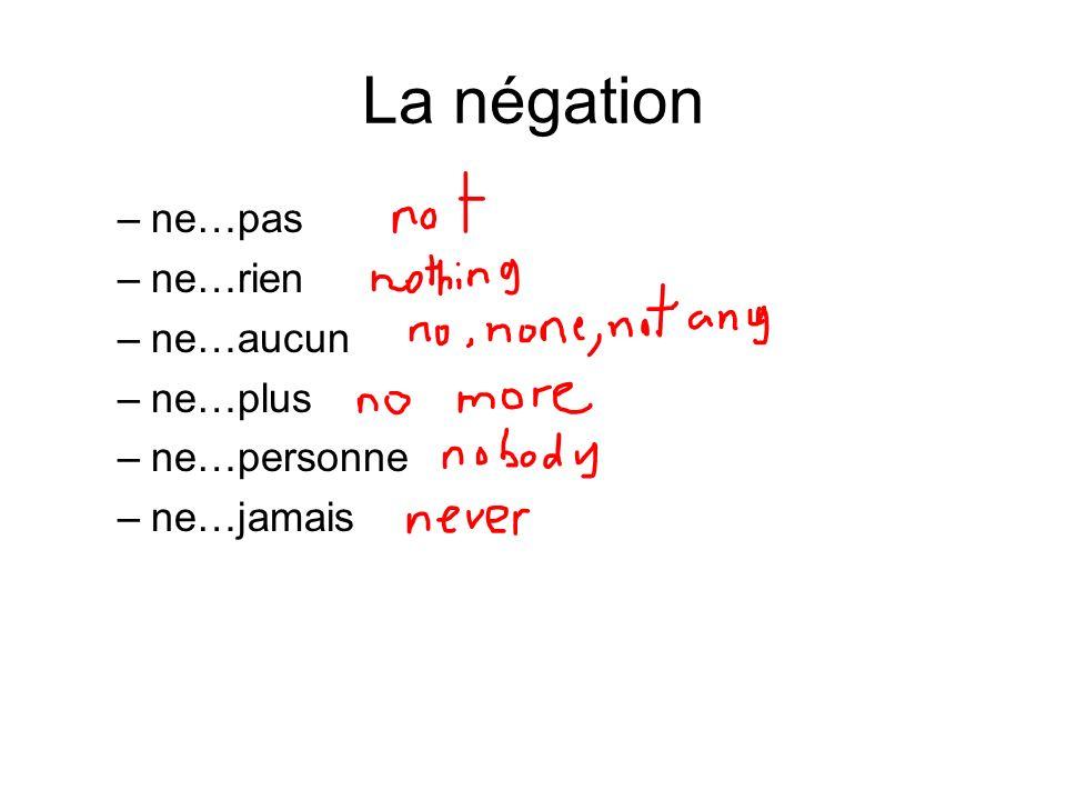 La négation ne…pas ne…rien ne…aucun ne…plus ne…personne ne…jamais