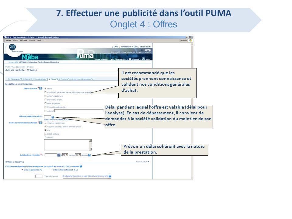 7. Effectuer une publicité dans l'outil PUMA