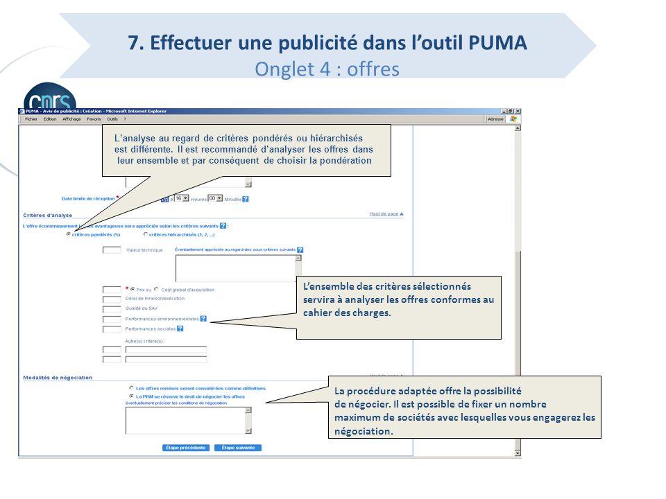 7. Effectuer une publicité dans l'outil PUMA Onglet 4 : offres