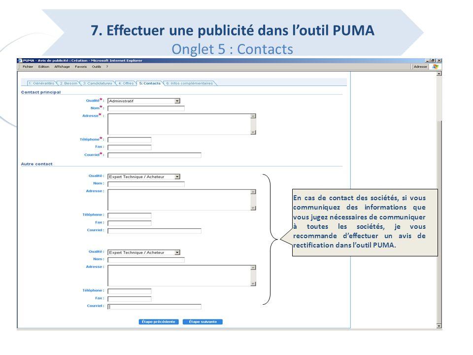 7. Effectuer une publicité dans l'outil PUMA Onglet 5 : Contacts