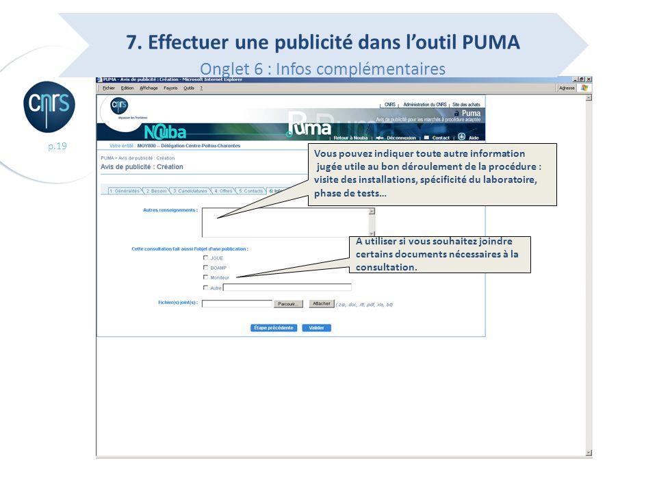 7. Effectuer une publicité dans l'outil PUMA Onglet 6 : Infos complémentaires