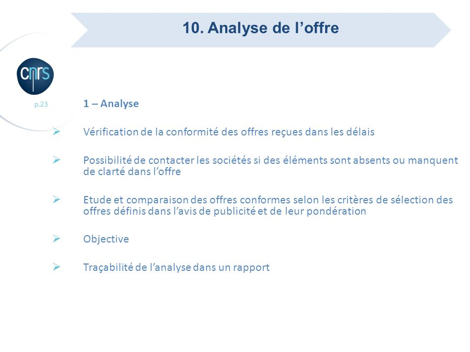 10. Analyse de l'offre 1 – Analyse