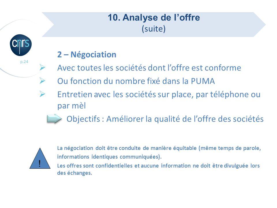 10. Analyse de l'offre (suite) 2 – Négociation. Avec toutes les sociétés dont l'offre est conforme.