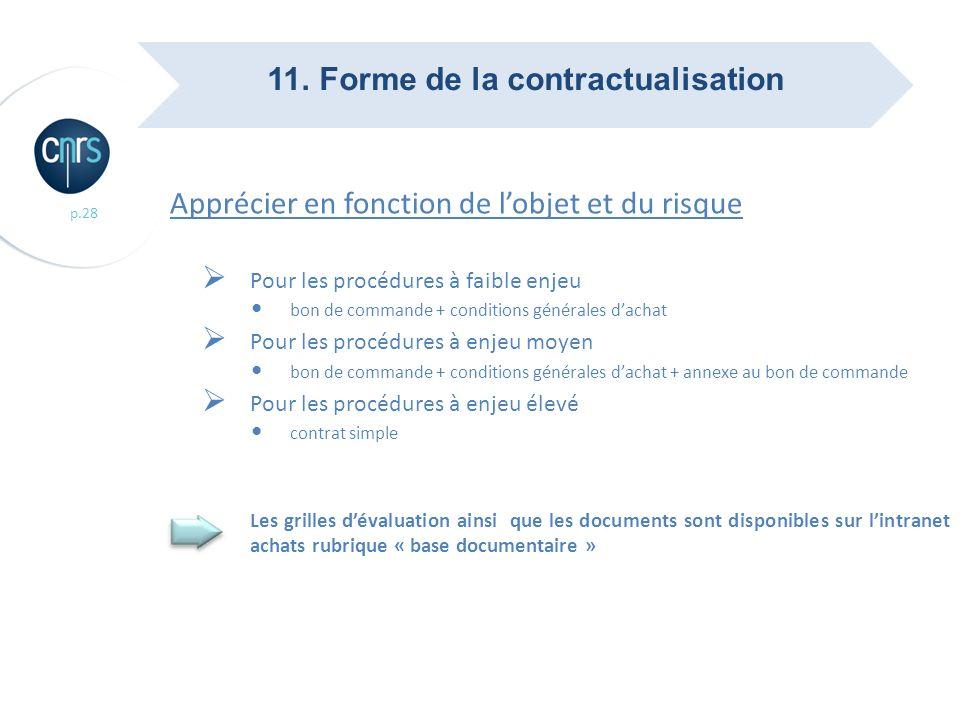 11. Forme de la contractualisation