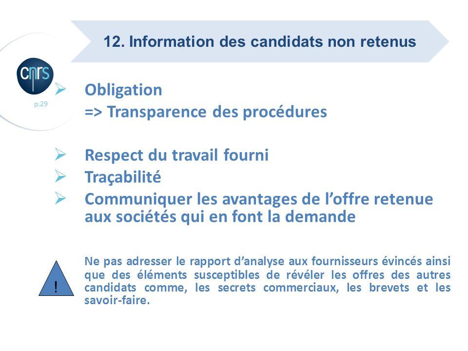 12. Information des candidats non retenus