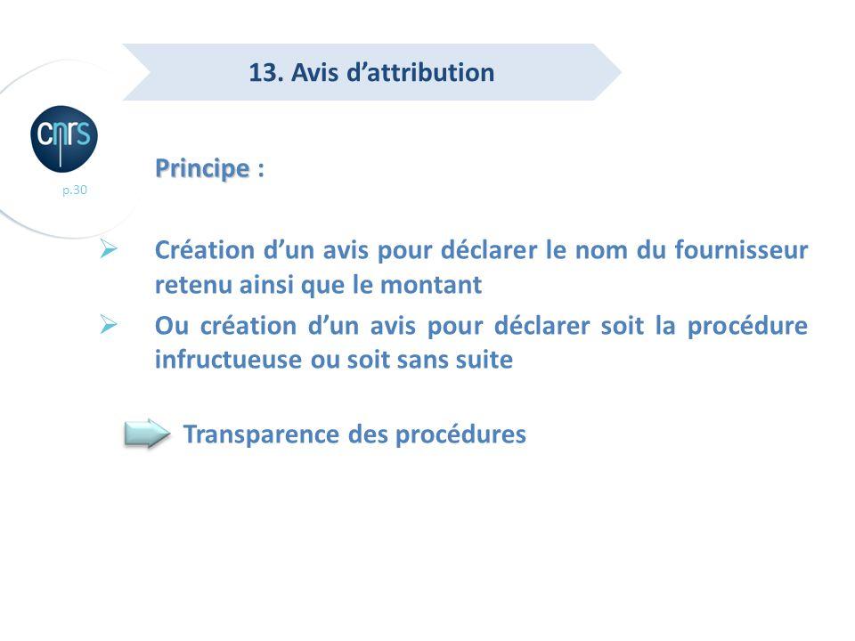 13. Avis d'attribution Principe : Création d'un avis pour déclarer le nom du fournisseur retenu ainsi que le montant.