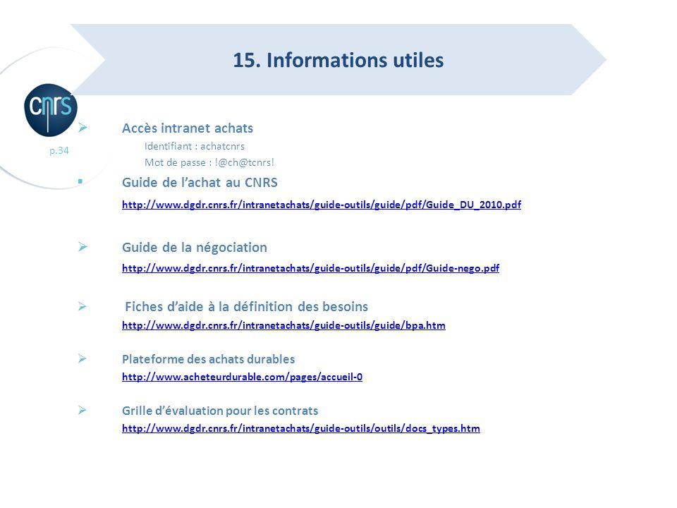 15. Informations utiles Accès intranet achats Guide de l'achat au CNRS